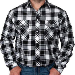 Just Country Mens Cameron Flannel Check LS Shirt -BLACK/WHITE