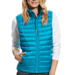 Stylish Outback Clothing Brands Ariat Womens Ideal DOWN Vest- ATOMIC BLUE
