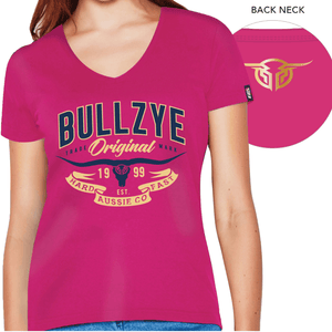 Stylish Outback Clothing Brands Bullzye Womens Hard n Fast V neck Tee-PINK