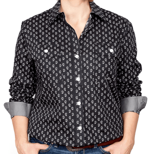Stylish Outback Clothing Brands Just Country Womens Abbey Full-Button Print LS Shirt-BLACK