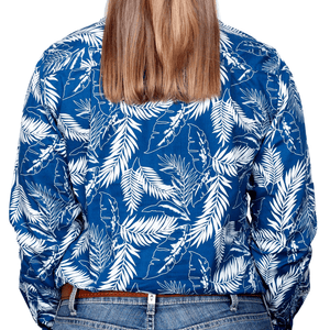 Stylish Outback Clothing Brands Just Country Womens Abbey Full-Button Print LS Shirt-BLUE LEAVES