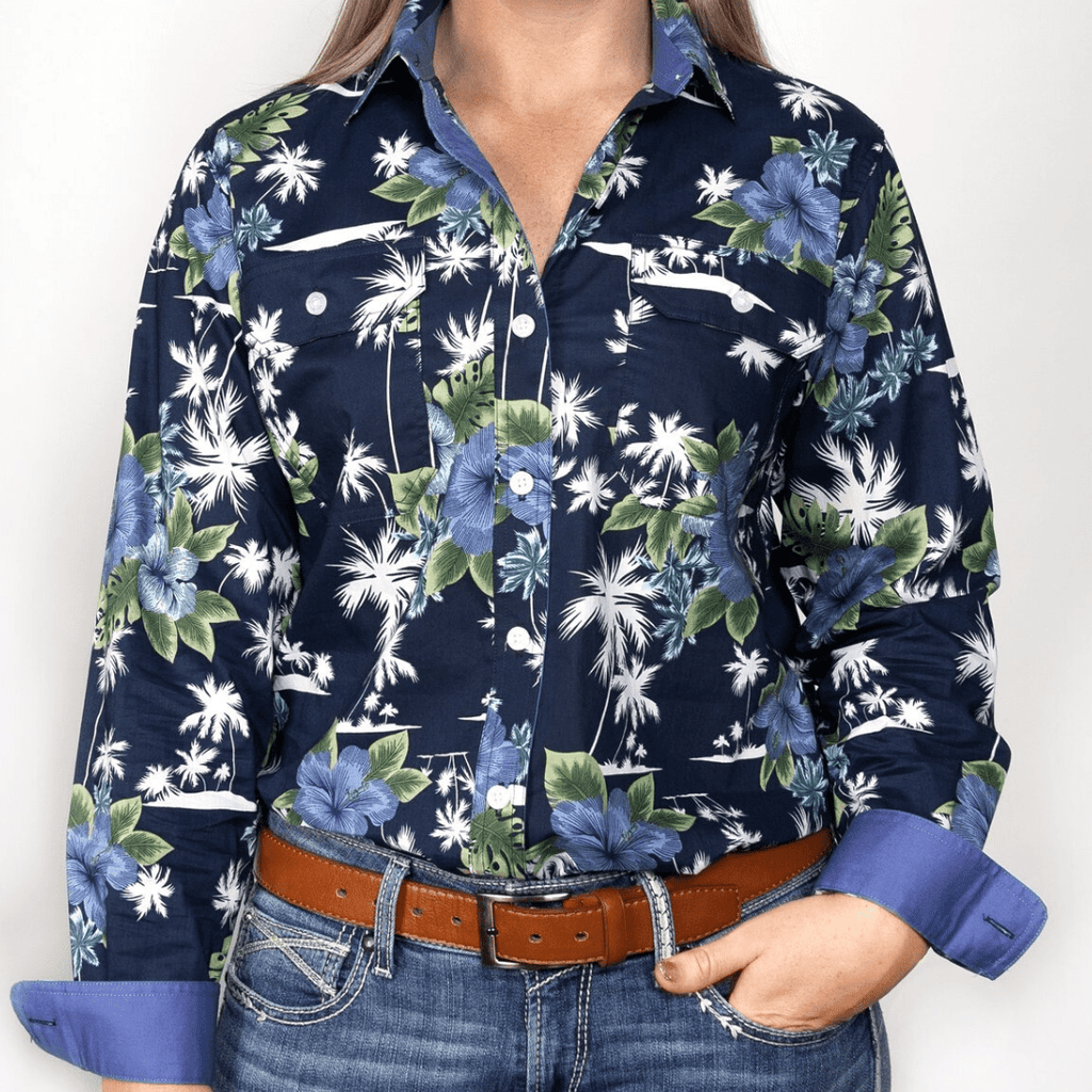Stylish Outback Clothing Brands Just Country Womens Abbey Navy-Hawaiian Print LS Shirt