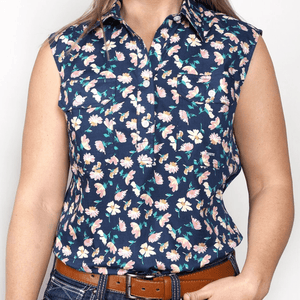 Stylish Outback Clothing Brands Just Country Womens Lilly Navy Floral Print Sleeveless Shirt
