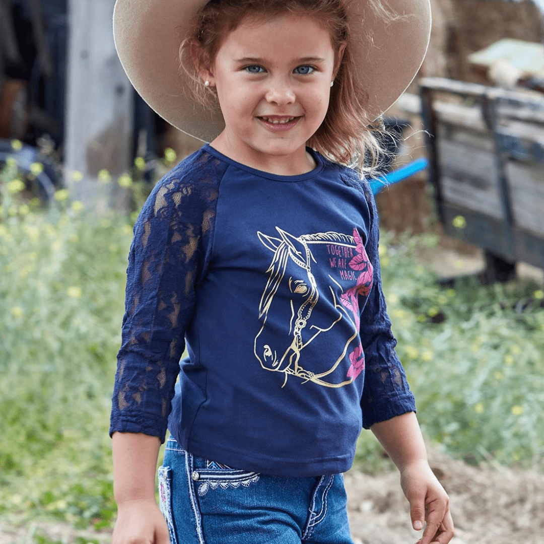 Pure Western Girls Dixie Mid-Sleeve Top - Stylish Outback Clothing