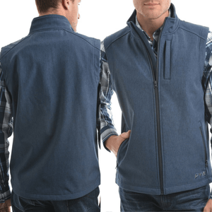 Pure Western Mens Ryland Softshell Vest-DK BLUE - Stylish Outback Clothing