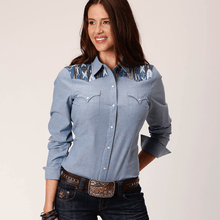 Stylish Outback Clothing Brands Roper Womens West Made Aztec Denim LS Shirt