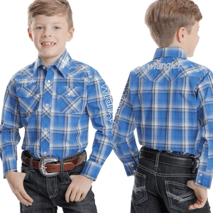 Stylish Outback Clothing Brands Wrangler Boys Logo Check LS Shirt