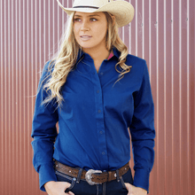 Stylish Outback Clothing Brands Wrangler Womens Tracey Drill LS Shirt- ROYAL BLUE