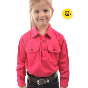 Stylish Outback Clothing Childrens Wear Thomas Cook Kids Heavy Drill Half Placket LS Shirt PINK