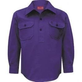 Stylish Outback Clothing Childrens Wear Thomas Cook Kids Heavy Drill Half Placket LS Shirt PURPLE