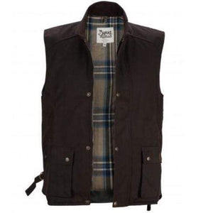 Stylish Outback Clothing Mens Burke & Wills Mens Capricorn Genuine OILSKIN Vest - DK BROWN