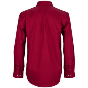 Stylish Outback Clothing Mens Burke & Wills Mens HEAVY Drill half Placket LS Shirt-BURGUNDY
