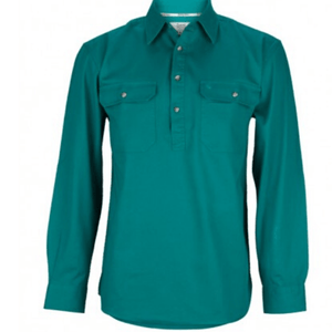 Stylish Outback Clothing Mens Burke & Wills Mens HEAVY Drill half Placket LS Shirt-GREEN