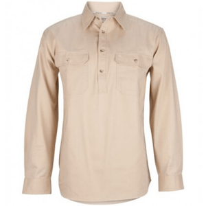 Stylish Outback Clothing Mens Burke & Wills Mens HEAVY Drill half Placket LS Shirt-STONE