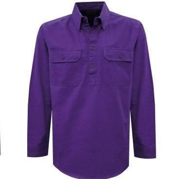 Stylish Outback Clothing Mens Thomas Cook HEAVY Drill half Placket LS Shirt PURPLE
