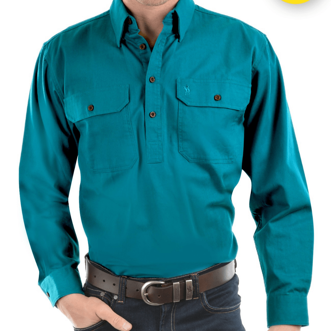 Stylish Outback Clothing Mens Thomas Cook HEAVY Drill half Placket LS Shirt-TEAL