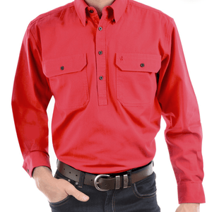 Stylish Outback Clothing Mens Thomas Cook HEAVY Drill half Placket LS Shirt TOMATO RED