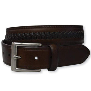 Stylish Outback Clothing Mens Thomas Cook Leather Plait  Belt - DK BROWN