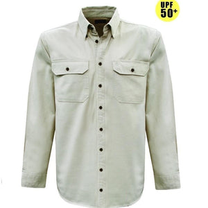 Stylish Outback Clothing Mens Thomas Cook LIGHT Drill Button Through LS Shirt BONE