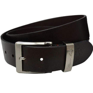 Stylish Outback Clothing Mens Thomas Cook Silver Signature Badge Belt - DK BROWN