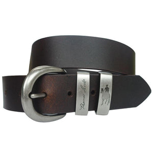 Stylish Outback Clothing Mens Thomas Cook Silver Twin Keeper Belt - BROWN or BLACK