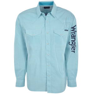 Stylish Outback Clothing Mens Wrangler Mens Auburn Print Logo LS shirt