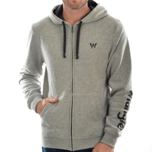 Stylish Outback Clothing Mens Wrangler Mens Logo Hooded Zip-up Hoodie -GREY MARLE