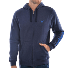 Stylish Outback Clothing Mens Wrangler Mens Logo Hooded Zip-up Hoodie -NAVY MARLE