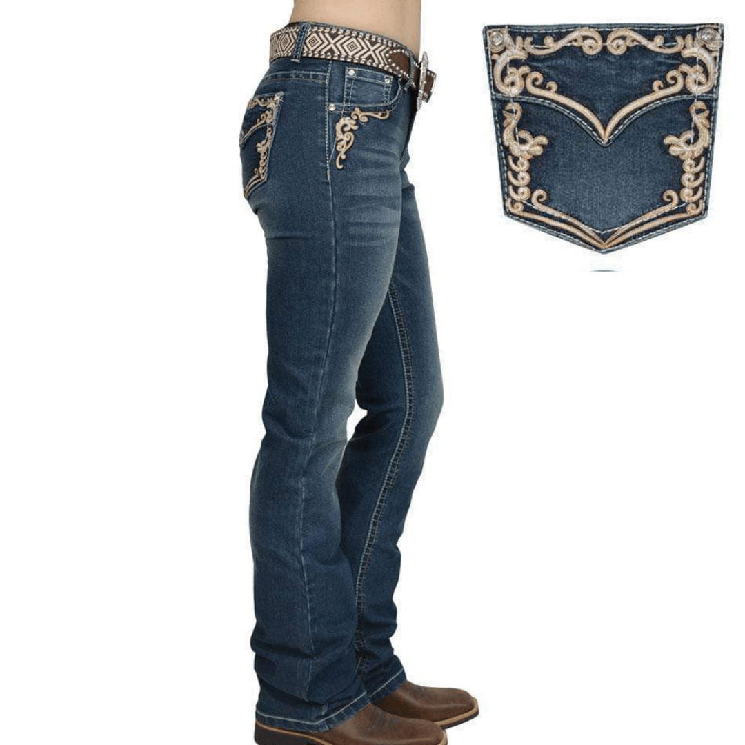 "Stylish Outback Clothing Womens Pure Western Womens Carolina Relaxed Rider Jean - 36"" leg only"