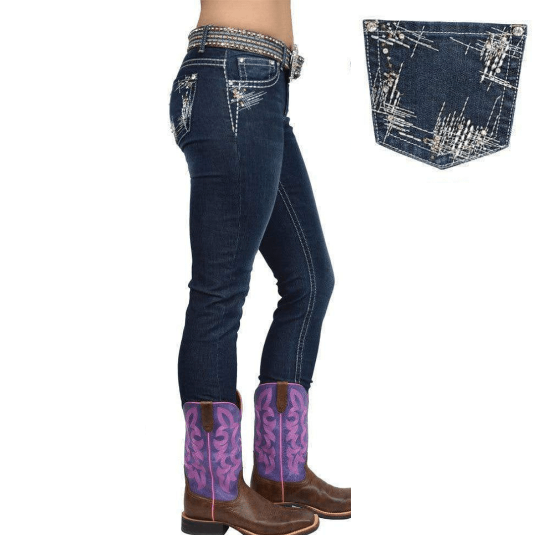 "Stylish Outback Clothing Womens Pure Western Womens Jasmine Skinny-leg Jean- 32"" length only"