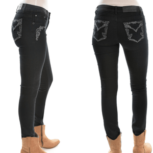 "Stylish Outback Clothing Womens Pure Western Womens Josie Skinny Jean - BLACK- 32"" leg only"