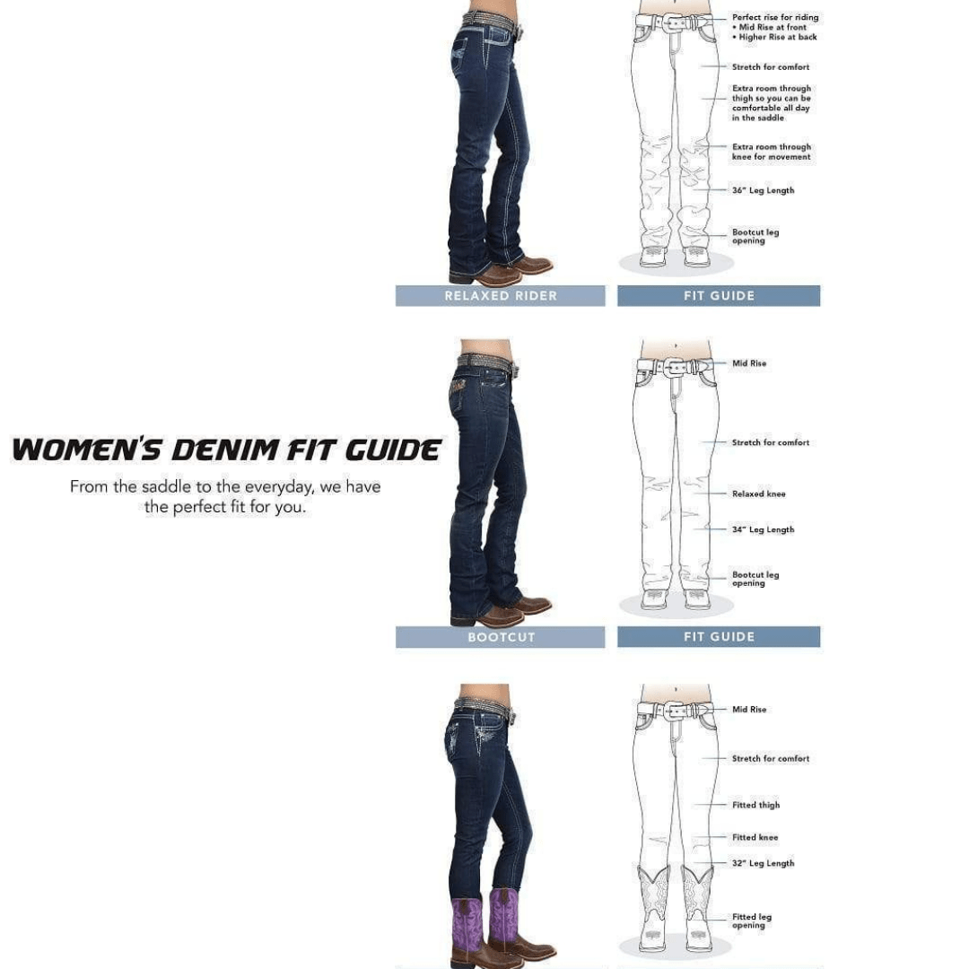 "Stylish Outback Clothing Womens Pure Western Womens Louisiana Relaxed Rider Jean- 36"" leg only"