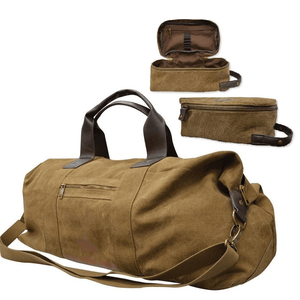 Thomas Cook Canvas Duffle & Wash Bag Combo - BROWN - Stylish Outback Clothing