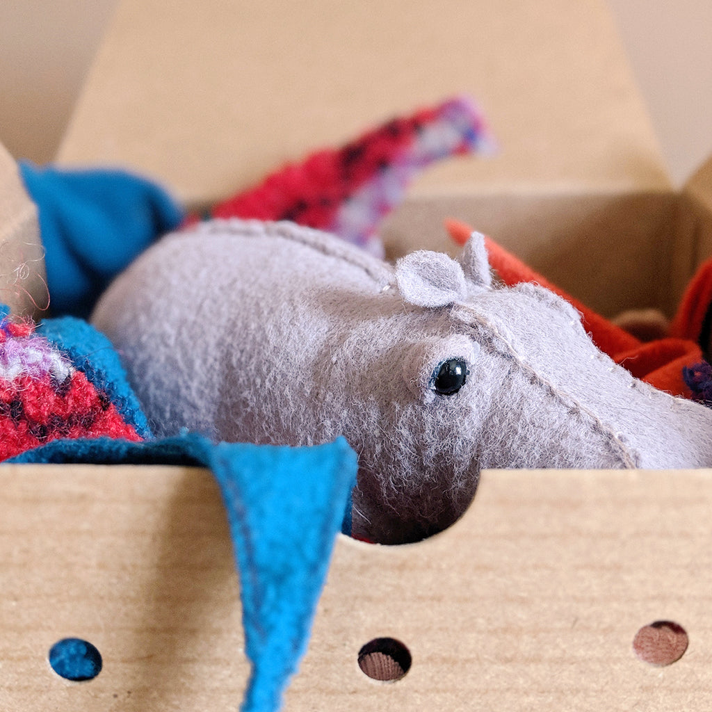 Hand Stitched House Hippo in Box