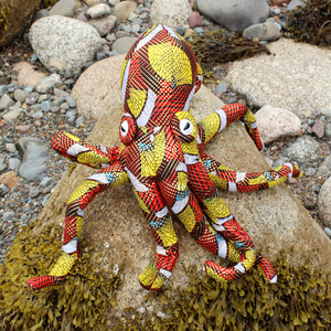 Octopus Soft Sculpture - Abstract Red and Yellow with Gold Foil Fabric