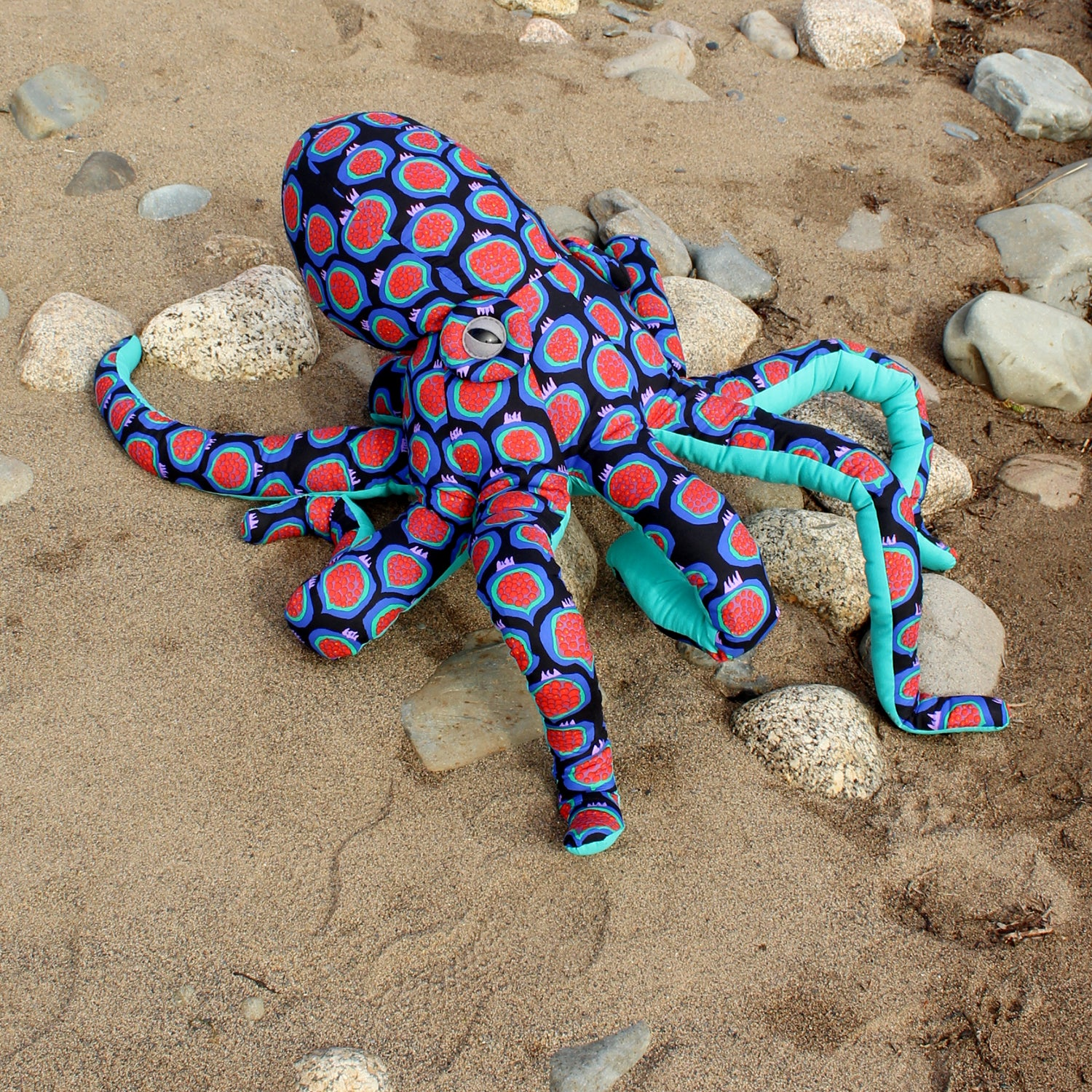 Giant Octopus Stuffed Animal Decor Soft Sculpture One of a Kind - Pomegranate Black