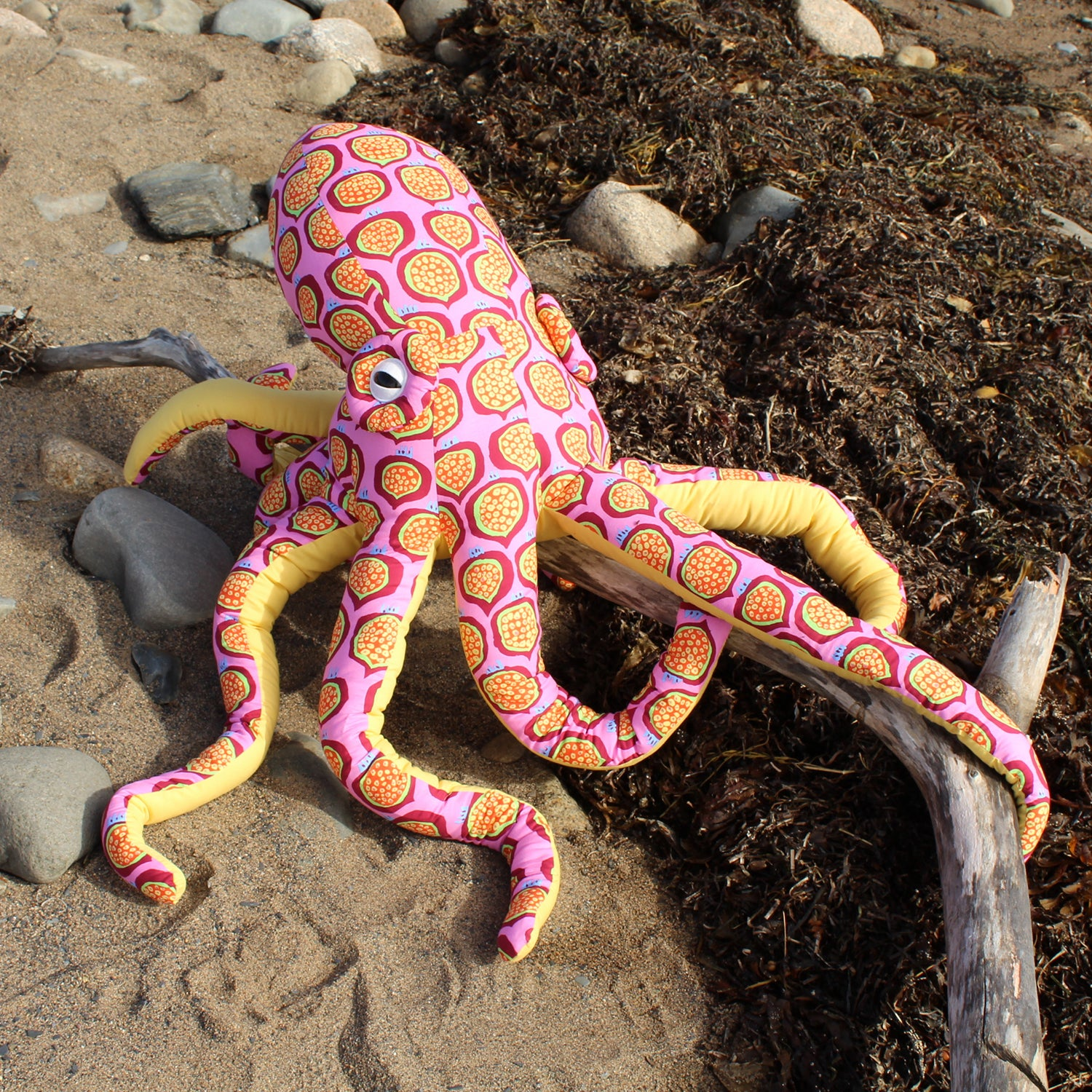 Giant Octopus Stuffed Animal Decor Soft Sculpture One of a Kind - Pomegranate Pink