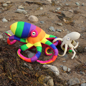 Giant Octopus Stuffed Animal Decor Soft Sculpture One of a Kind - Rainbow