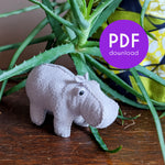 House Hippo Hand-Stitching Pattern - PDF Download