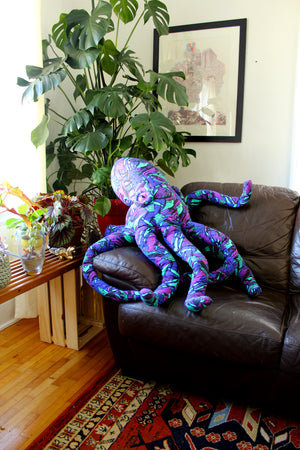 Giant Octopus Stuffed Animal Decor Soft Sculpture One of a Kind - Vintage 90's