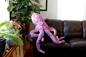 Giant Octopus Stuffed Animal Decor Soft Sculpture One of a Kind - Pomegranate Blue