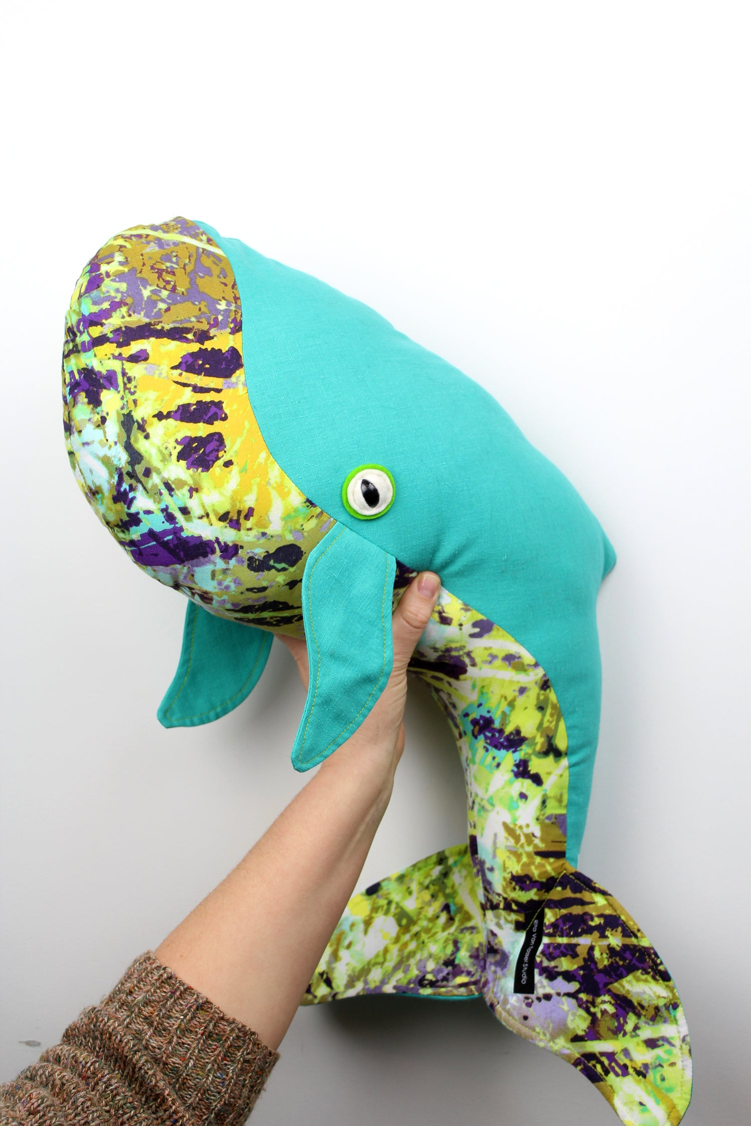 Large Whale Pillow - Turquoise