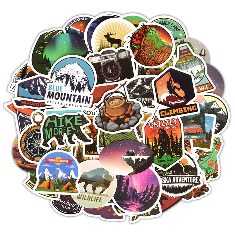 Camping and Outdoor Life Sticker Pack (50 Pcs)