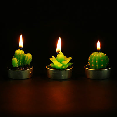 Hand-Carved Cactus Candles 6-pack