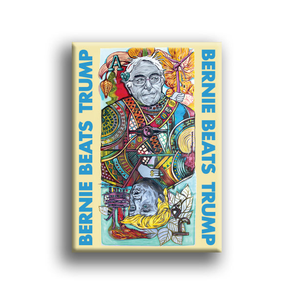 """Bernie Beats Trump"" Fridge Magnet by Sir Tom Foolery"