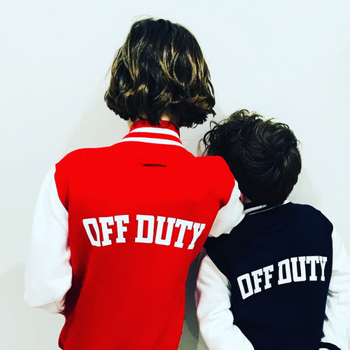 KIDS RED/WHITE VARSITY JACKET