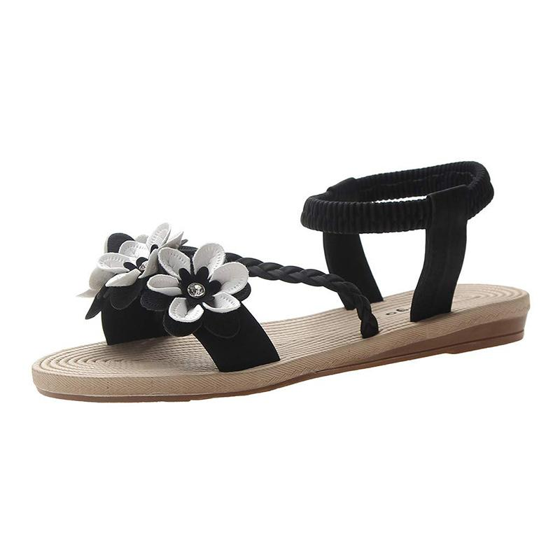 Women's Flat Sandals With Bohemian Flower