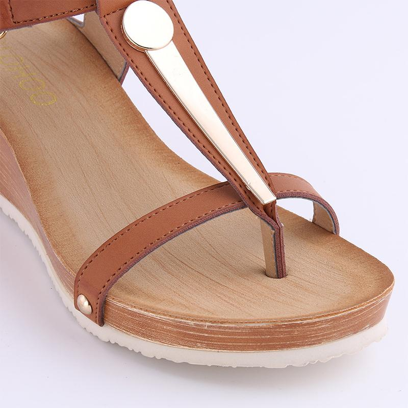 T-Strap Clip Toe Wedge-Heel Sandals