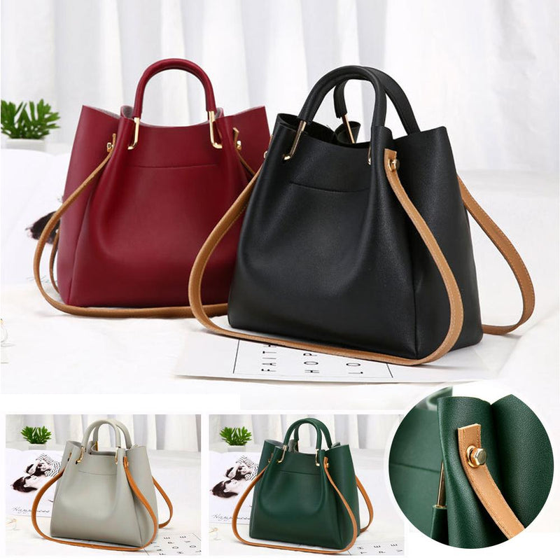 Ladies Messenger Handbag - Solid Color
