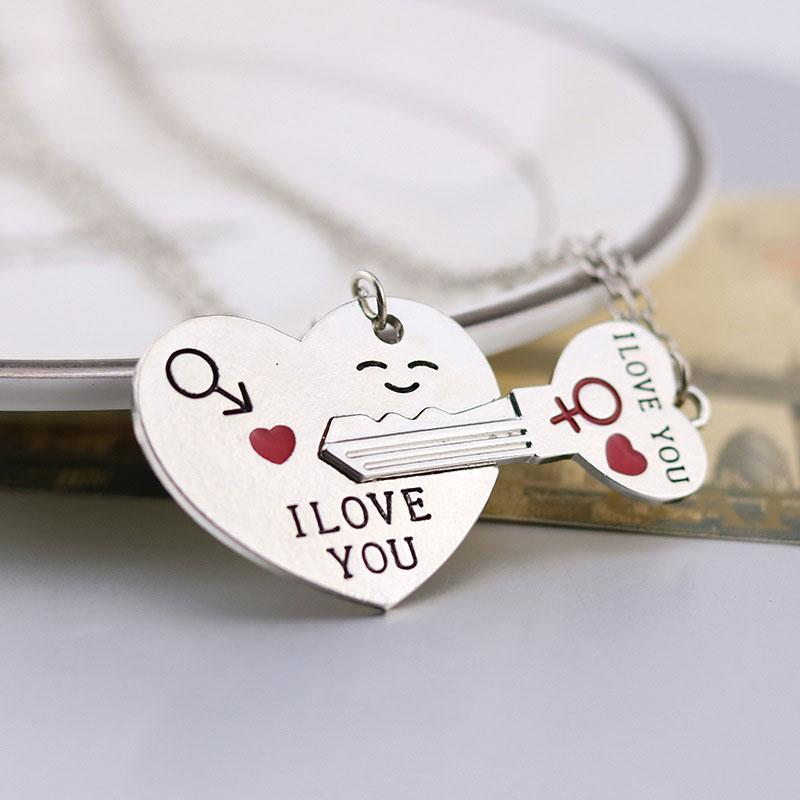 """I LOVE YOU"" Necklace / Key Chain (1 Pair)"